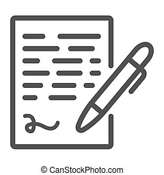Pen signing line icon, business contract signature