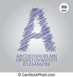 Pen Sketch Alphabet and Digit Vector