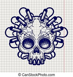 Pen sketched monsters skull with dynamite - Ballpoint pen...