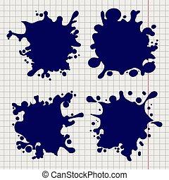 Pen splash shapes on notebook background
