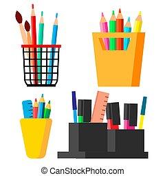 Pen Stand Set Vector. Brush, Pencil, Paint Brush. Isolated Cartoon Illustration