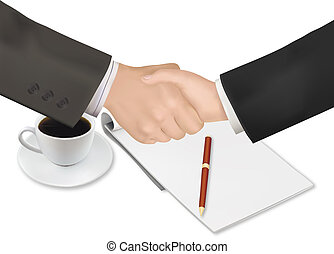 pen., stretta di mano, carta, sopra