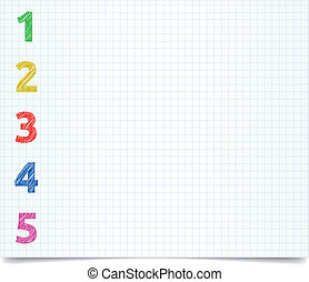 pen-style-1-2-3-4 - Colorized pen style numbers on excersise...