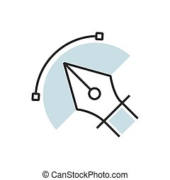 pen tool icon semicircle design