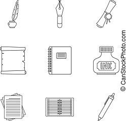 Pen tools icon set, outline style - Pen tools icon set....