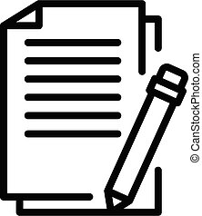 Pen training paper icon. Outline pen training paper vector icon for web design isolated on white background