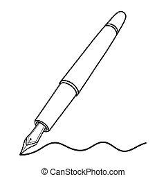 pen, vector, fontijn, illustratie, schrijvende