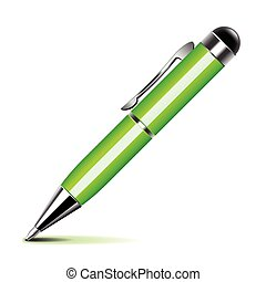 pen, vector, groene, vrijstaand, witte