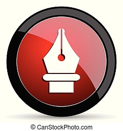 Pen vector icon. Modern design red and black glossy web and mobile applications button in eps 10