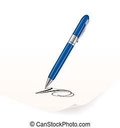 Pen - Vector image of blue pen writing on paper