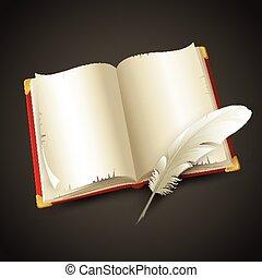 pen., vetorial, antigas, livro, ilustração