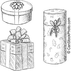 Pen vintage sketch - hand drawn gift boxes.
