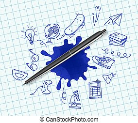 Pen with doodling elements vector illustration