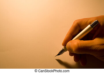 pen with hand