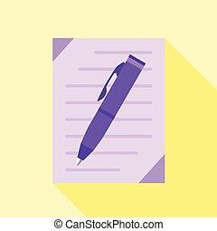 Pen writing icon, flat style