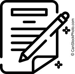 Pen writing paper icon, outline style