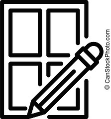 Pen writing window icon, outline style