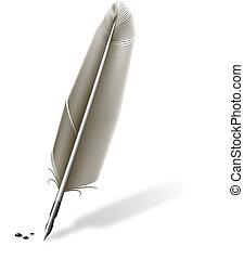 pena, com, metálico, caneta