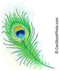 pena, peacock., aquarela, style.