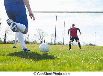 penalidade, vermelho, goleiro, pronto, salvar
