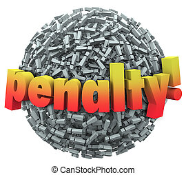 Penalty 3d Word Excalmation Point Mark Ball Punishment Fine...