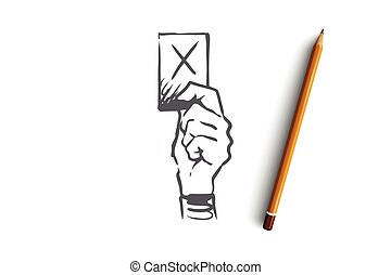 Penalty, judge, punishment, law, symbol concept. Hand drawn card as symbol of penalty concept sketch. Isolated vector illustration.