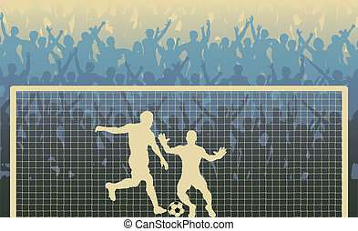 Editable vector illustration of a cheering crowd watching a penalty kick in a soccer match