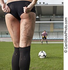Penalty - Picture of a sexy woman before a penalty kick....