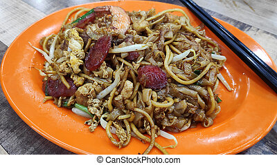 Penang Char Kway Teow fried wide rice noodles from Malaysia