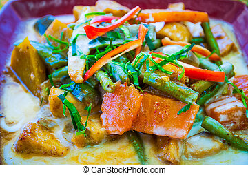 Penang curry on a plate - Penang curry, delicious thai dish...