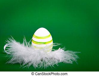 penas, ninho, páscoa, ovo branco