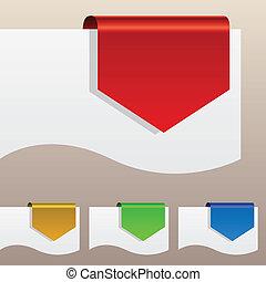 penchant, étiquettes, edge., escompte, papier, rouges, autour de