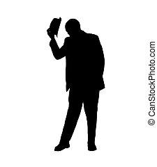 pencher, sien, silhouette, homme, chapeau