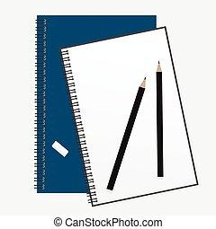 pencil., 上, バネとじノート, 開いた, 光景