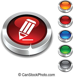 Pencil 3d button. - Pencil 3d button set. Vector...