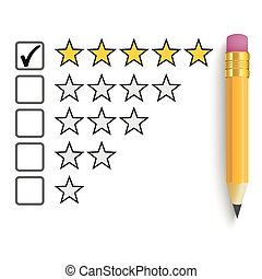 Pencil 5 Stars Rating - Pencil with rating stars on the...