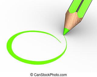 Pencil - A pencil and a blank checklist. 3d render...