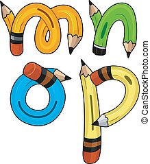 Pencil Alphabet - Illustration of Pencils Shaped Like...