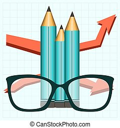 Pencil and eye glasses, growth chart