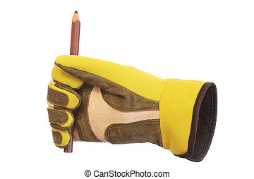 pencil and glove - glove and brown pencil with white...