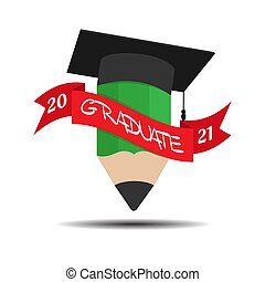 Pencil and hat of the graduate with a ribbon and the inscription graduate 2021. Color vector illustration for logo, sticker and label