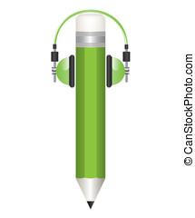 Pencil and headphones illustrations