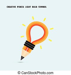 Pencil and light bulb on background. Education concept.
