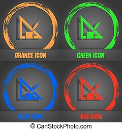 Pencil and ruler icon. Fashionable modern style. In the orange, green, blue, red design. Vector