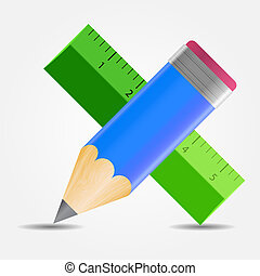 Pencil and ruler icon vector illustration