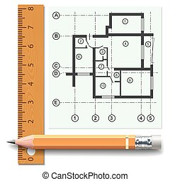 Pencil and ruler on a background of the drawing apartments