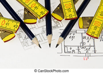 Pencil and ruler on  architectural plan