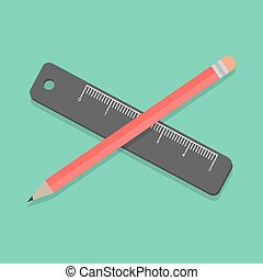 pencil and ruler on green background