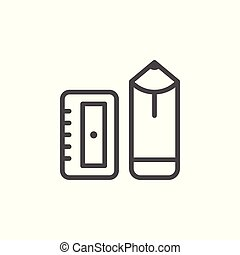 Pencil and sharpener line icon isolated on white. Vector...