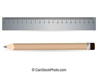 Pencil and steel ruler icon isolated on white
